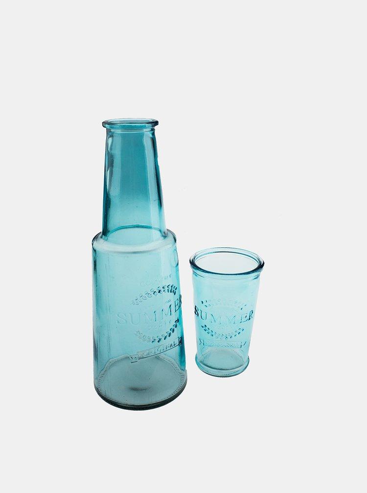 Modrá skleněná karafa se skleničkou Dakls