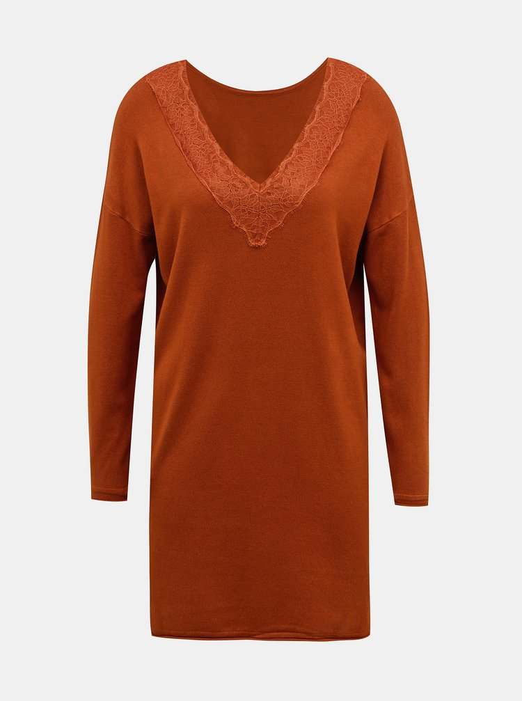 Hnědé svetrové šaty ONLY