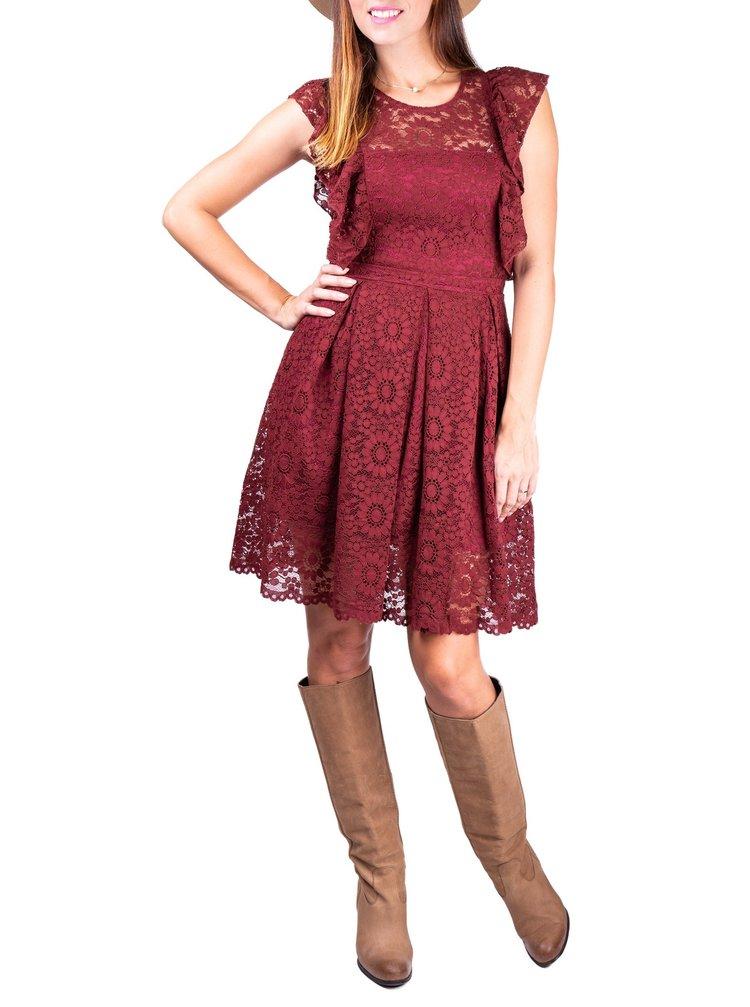 Simpo bordové krajkové šaty Boho Fall