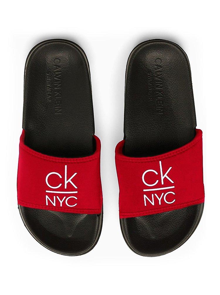 Calvin Klein černo-červené pantofle Slide