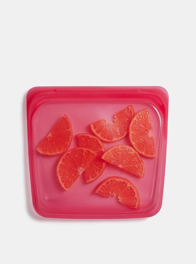 Růžový silikonový sáček na potraviny Stasher Sandwich 450 ml