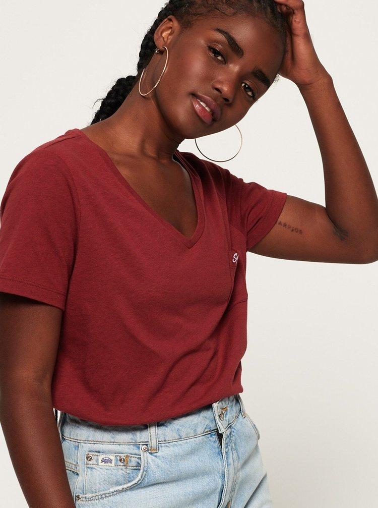 Vínové dámské tričko Superdry