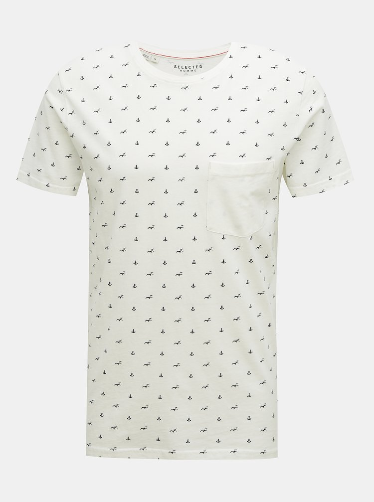 Bílé vzorované tričko Selected Homme