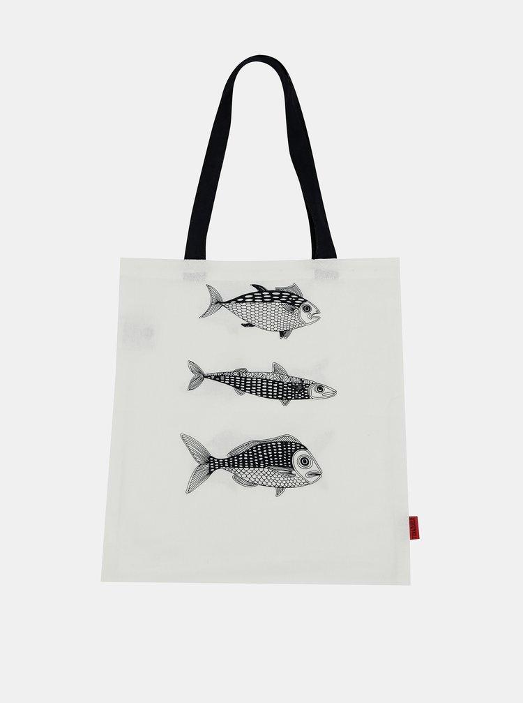 Bílá plátěná taška s potiskem Tranquillo Home Fish