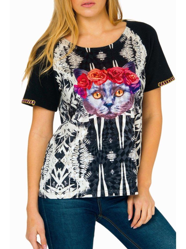 Culito from Spain černo-bílé tričko Lady Cat