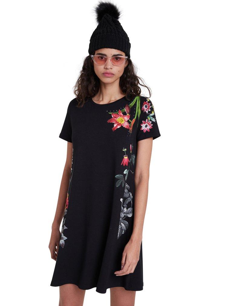 Desigual černé šaty Vest Caroline s barevným potiskem