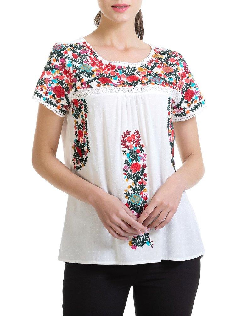 Anany bílý top Blus Flower
