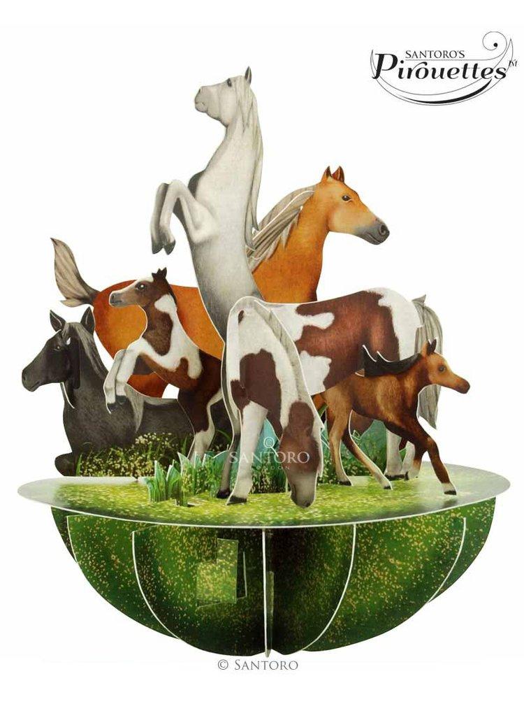 Santoro papírová 3D dekorace Horses And Ponies