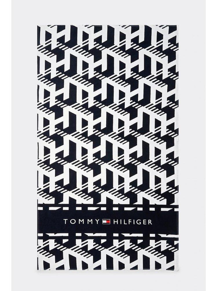 Tommy Hilfiger černo-bílá osuška Towel