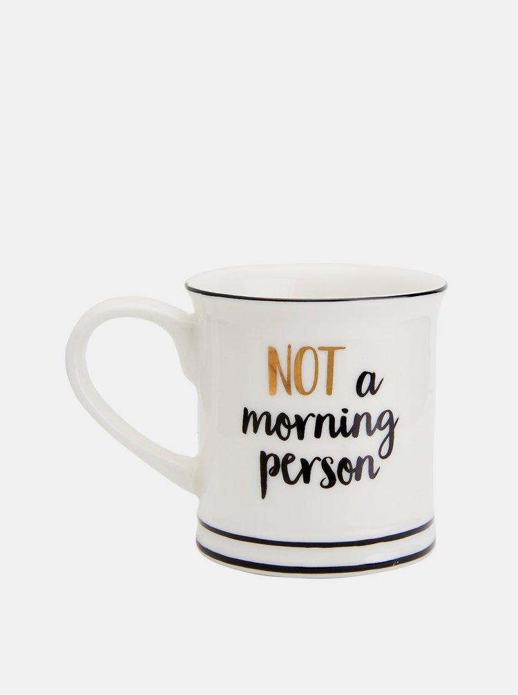 Bílý malý hrníček s nápisem Sass & Belle Not a morning person