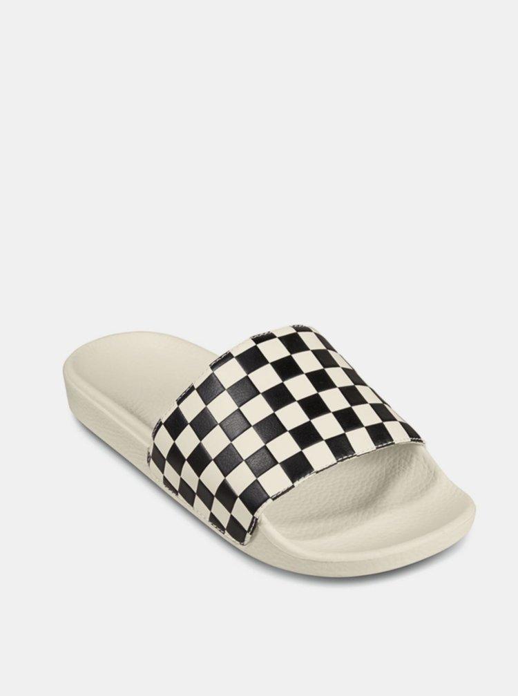 Bílo-černé kostkované pantofle VANS