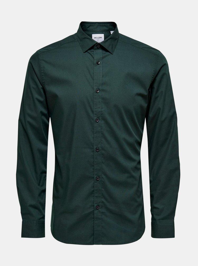 Camasi office pentru barbati ONLY & SONS - verde inchis