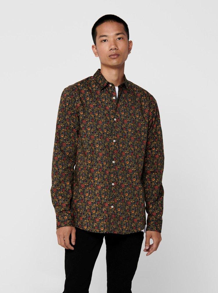 Hnědá vzorovaná košile ONLY & SONS Sander