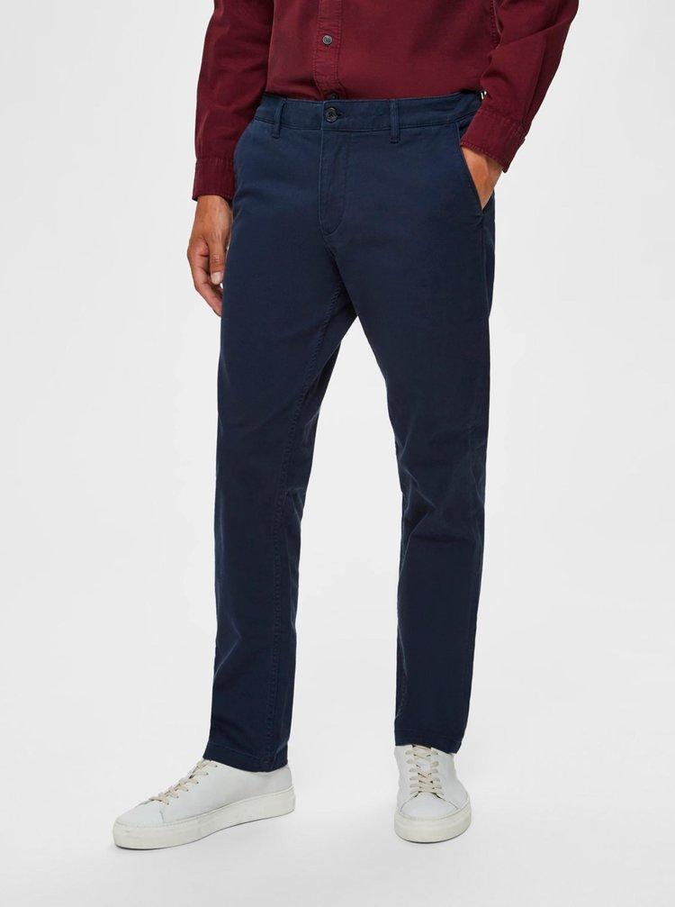 Tmavě modré chino kalhoty Selected Homme New Paris