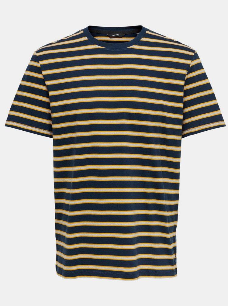 Tricouri pentru barbati ONLY & SONS - albastru inchis, bej