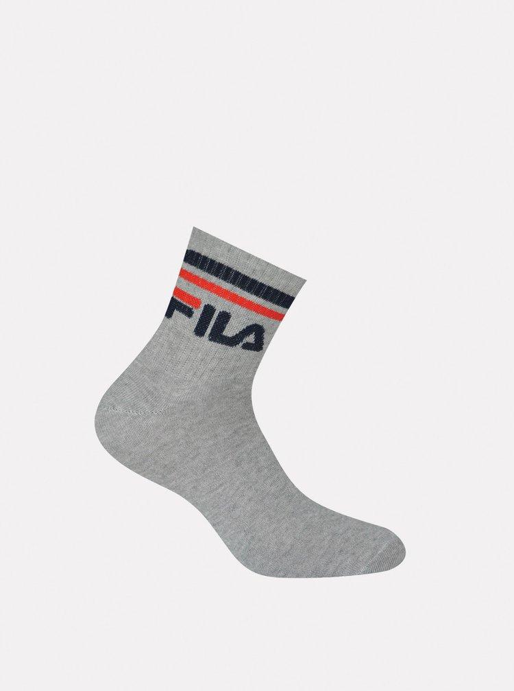Sada tří párů šedých kotníkových ponožek FILA
