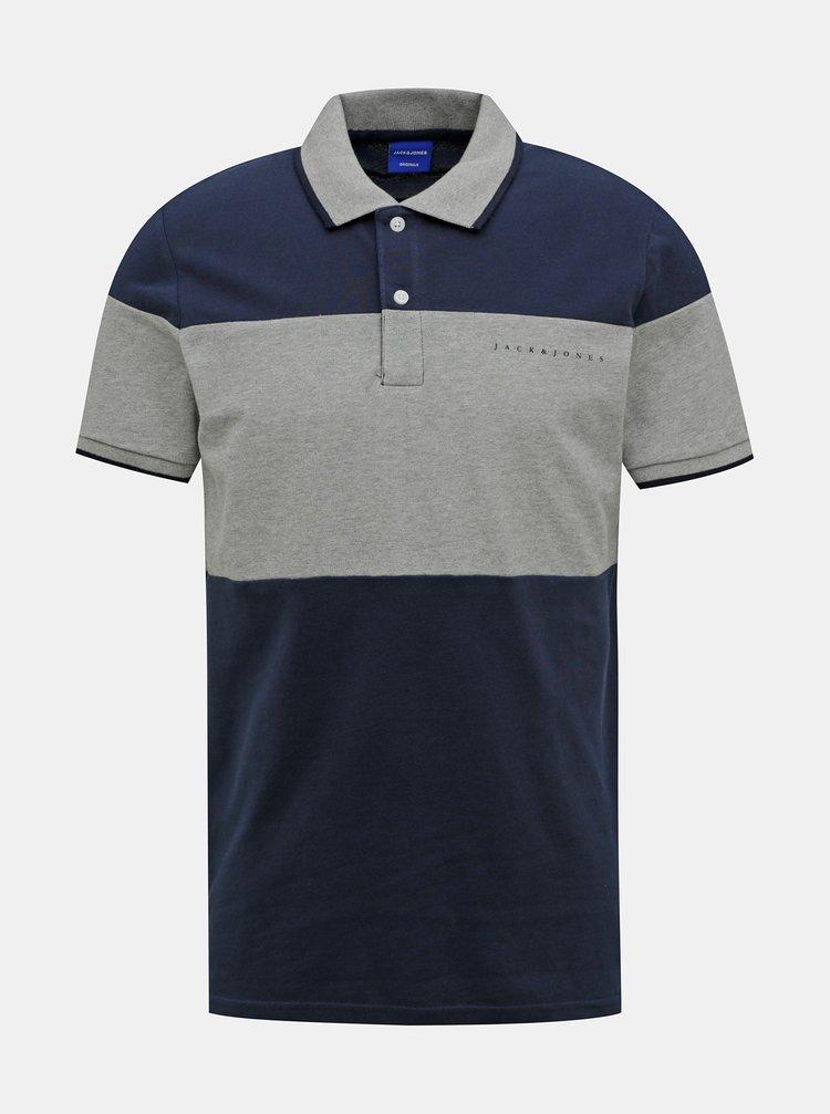 Šedo-modré polo tričko Jack & Jones Pro