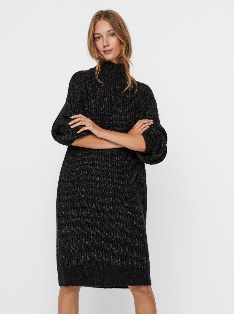 Tmavě šedé svetrové šaty s rolákem Noisy May Robina