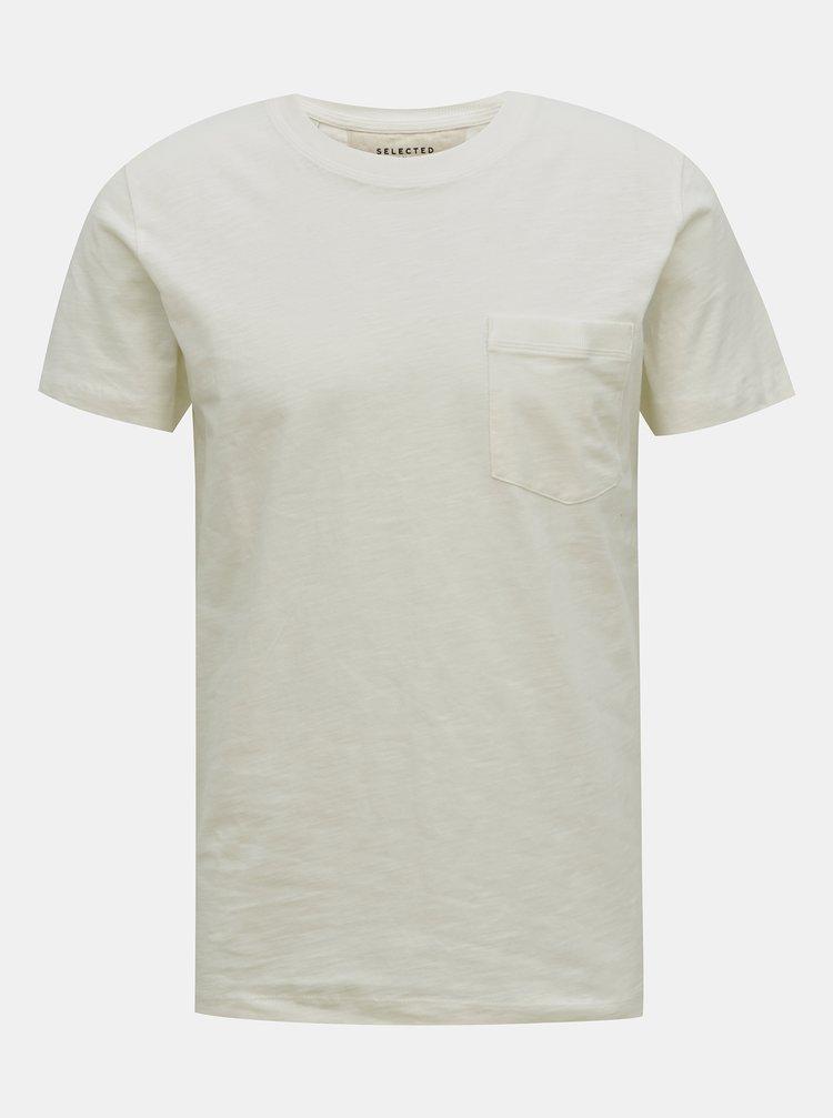 Krémové basic tričko Selected Homme Jared