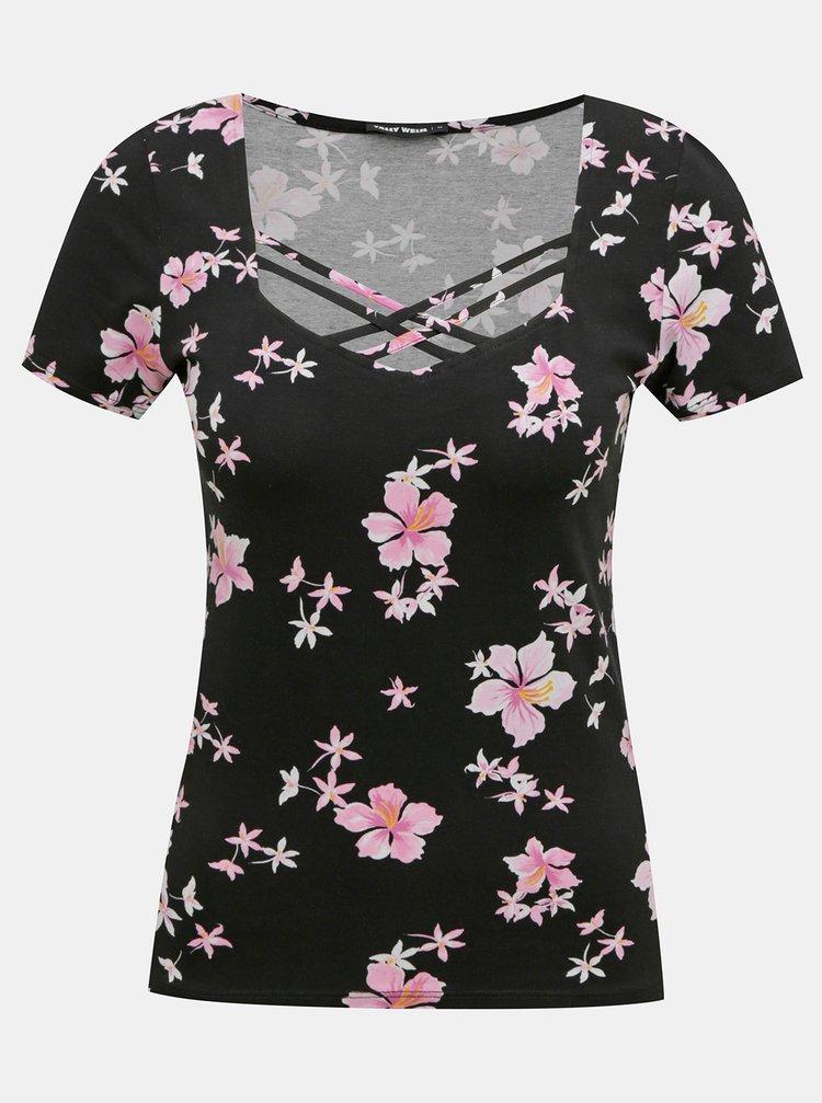 Černé květované tričko s pásky v dekoltu TALLY WEiJL