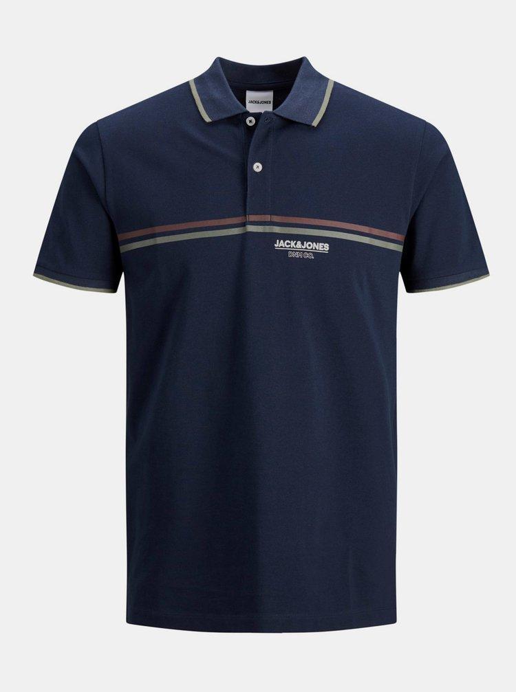 Tmavě modré polo tričko Jack & Jones Shaker