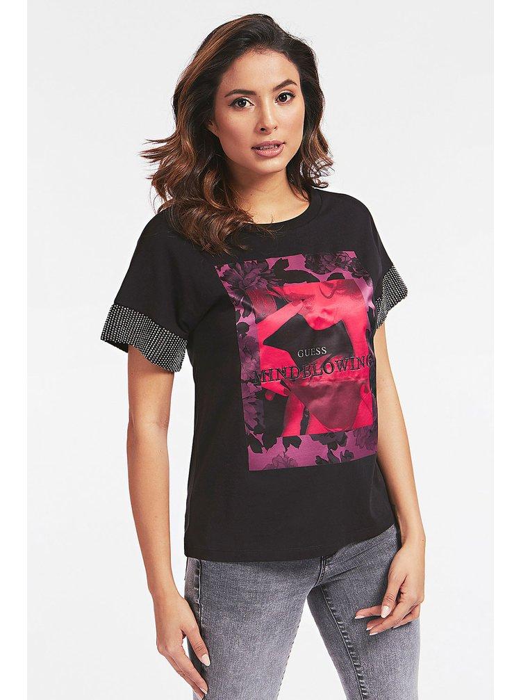 Guess černé tričko Front Logo T-shirt