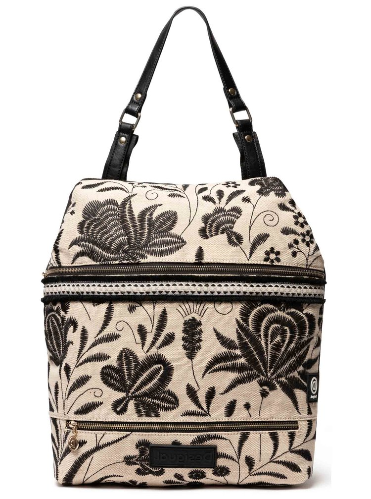 Desigual černo-béžový batoh Back Maui Olten s výšivkami