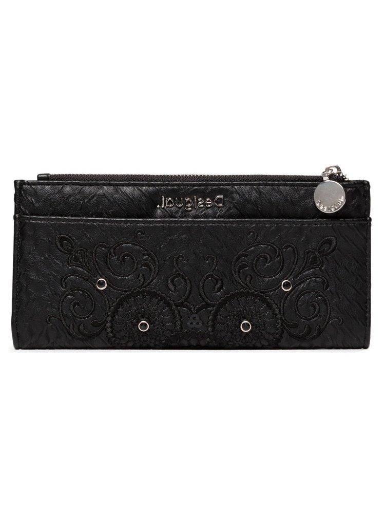 Desigual černá peněženka Mone Majestic Pia s výšivkou
