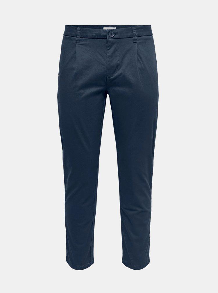 Tmavě modré chino kalhoty ONLY & SONS