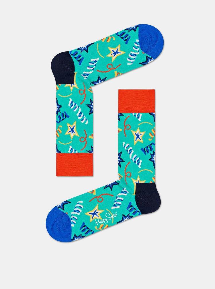 Sada dvoch párov modrých ponožiek Happy Socks Birthday