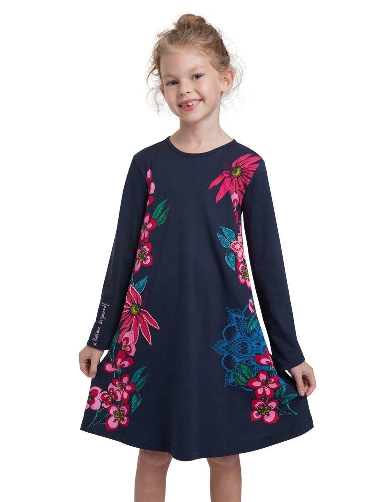Desigual modré dívčí šaty Vest Wildflower
