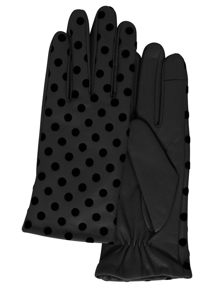 Ichi černé puntíkované rukavice A Fiona