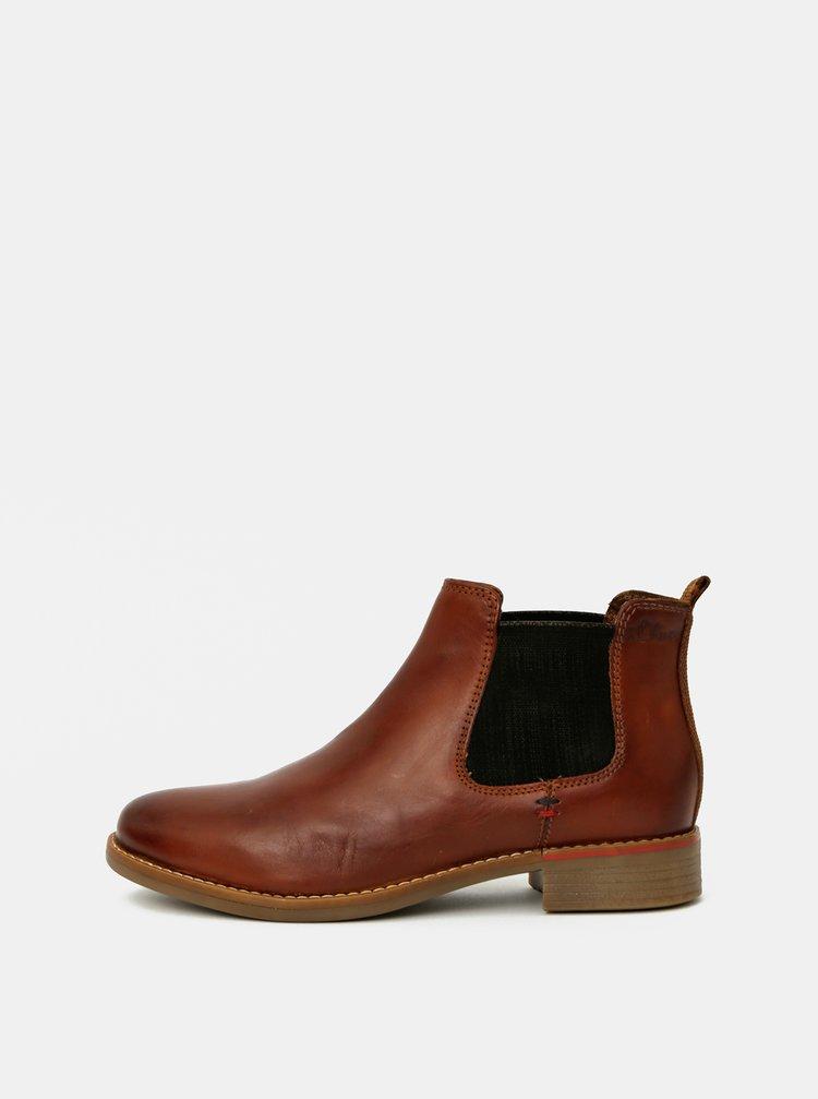 Hnědé dámské kožené chelsea boty s.Oliver