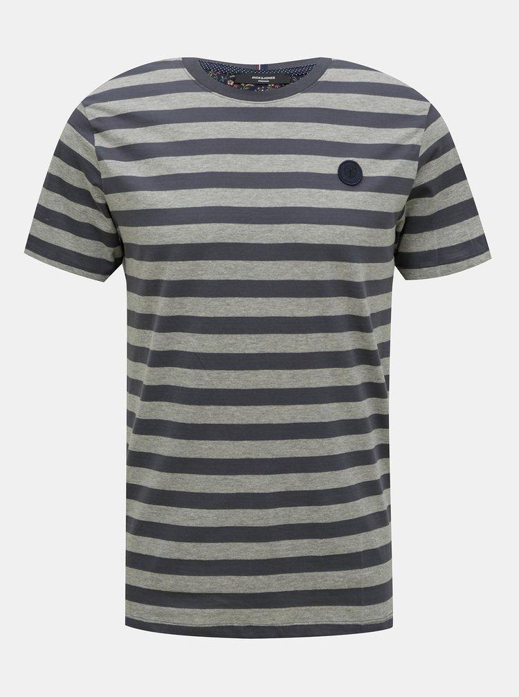 Modro-šedé pruhované tričko Jack & Jones Morgan