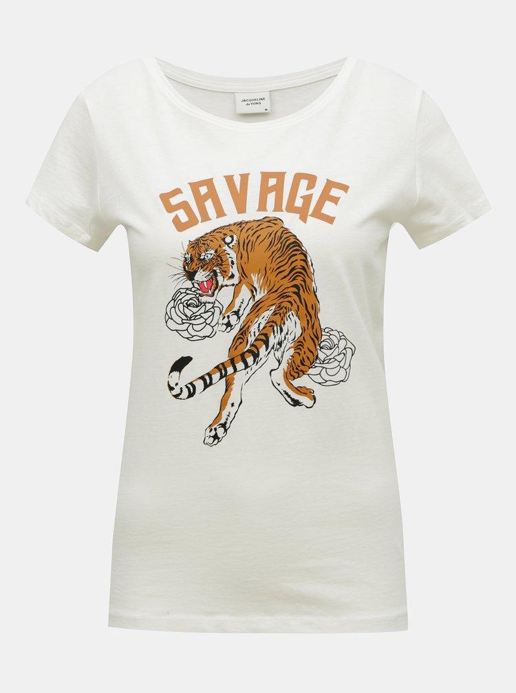 Bílé tričko s potiskem Jacqueline de Yong Chicago