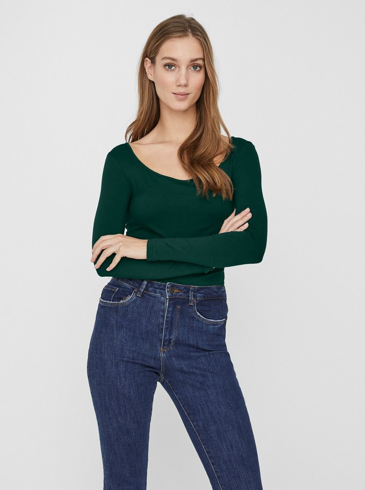 Tmavě zelené basic tričko VERO MODA