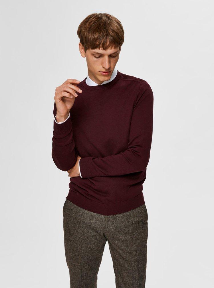 Vínový basic svetr Selected Homme Berg