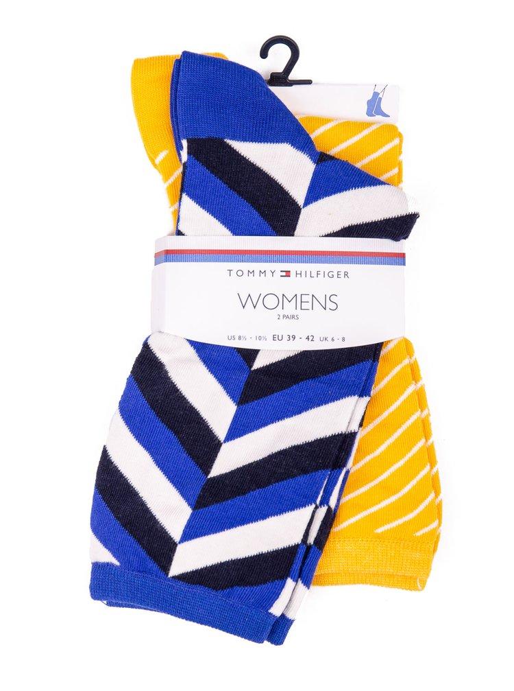 Tommy Hilfiger žluto-modrý 2 pack ponožek TH Women Sock 2P Herringbone