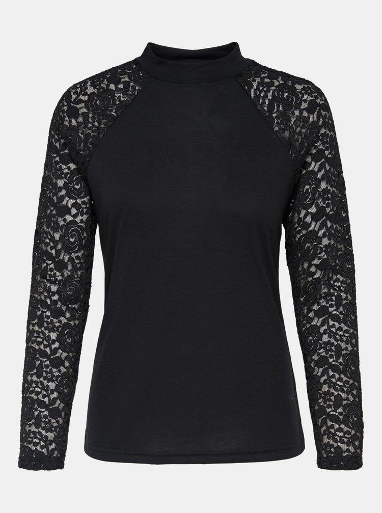 Černé tričko s krajkovými detaily Jacqueline de Yong Kim