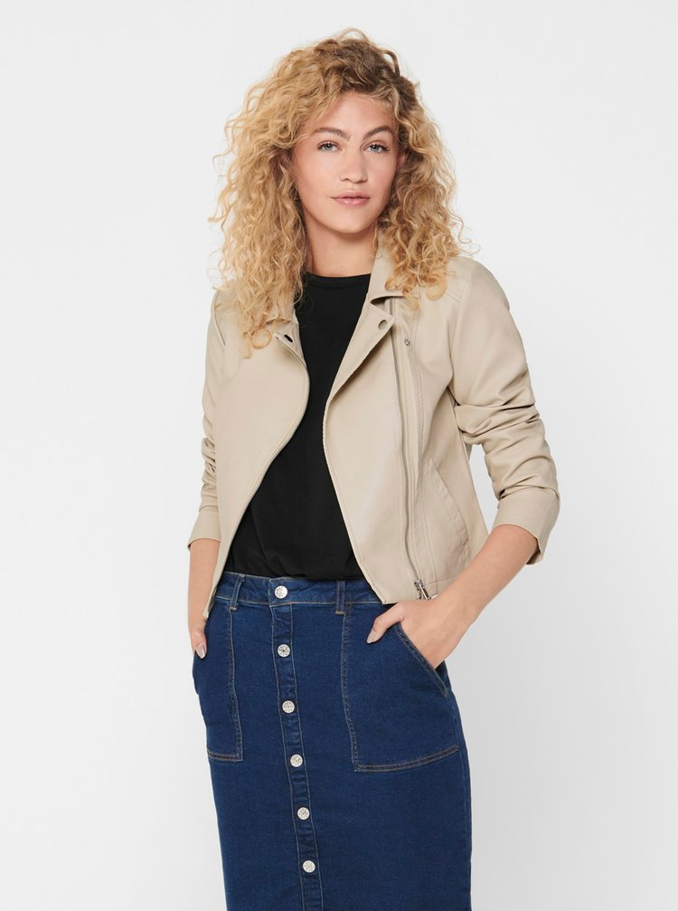 Jachete din piele naturala si sintetica pentru femei Jacqueline de Yong - bej