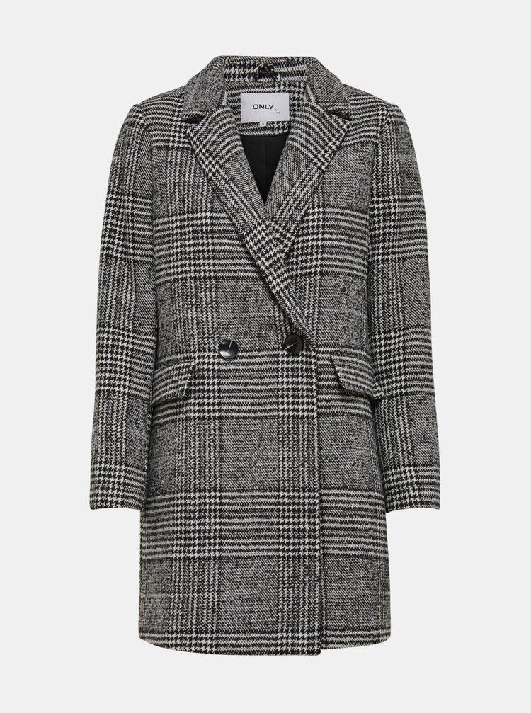 Šedý kostkovaný kabát s příměsí vlny ONLY New Selena