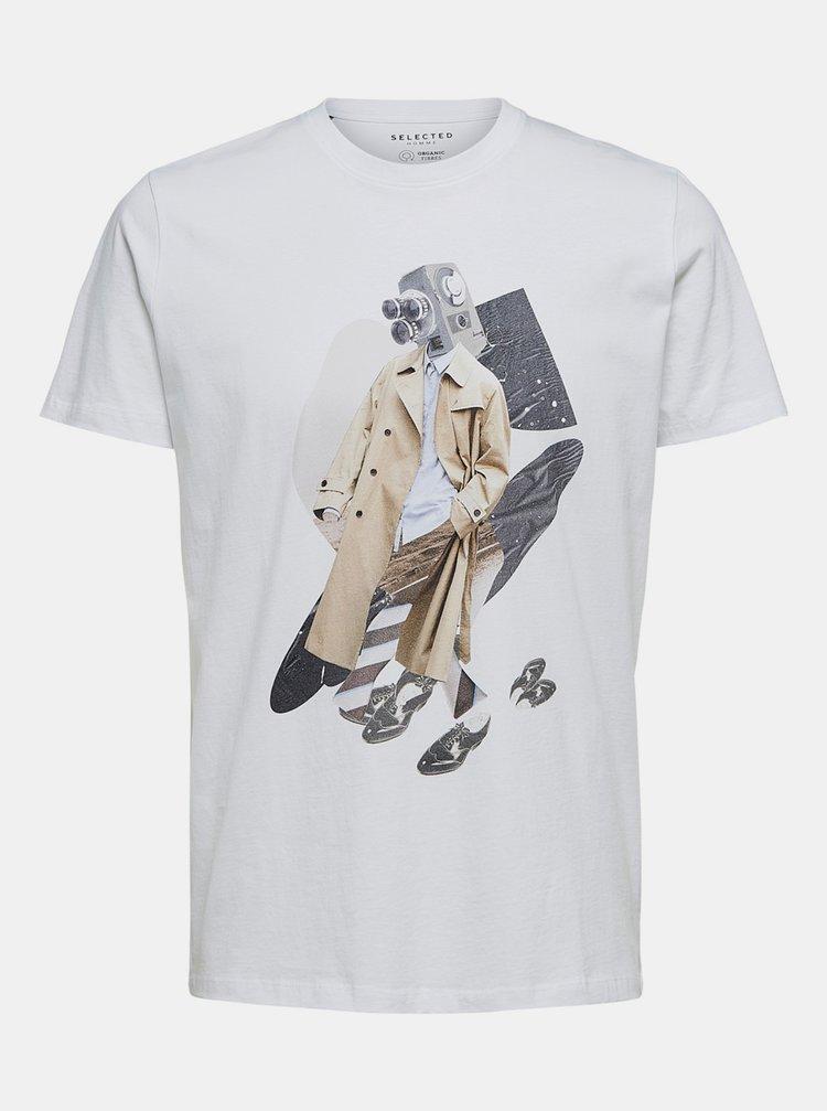 Bílé tričko Selected Homme Digital