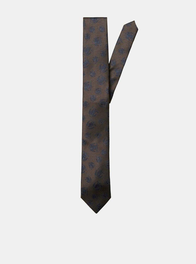 Hnědá vzorovaná kravata Selected Homme Morten