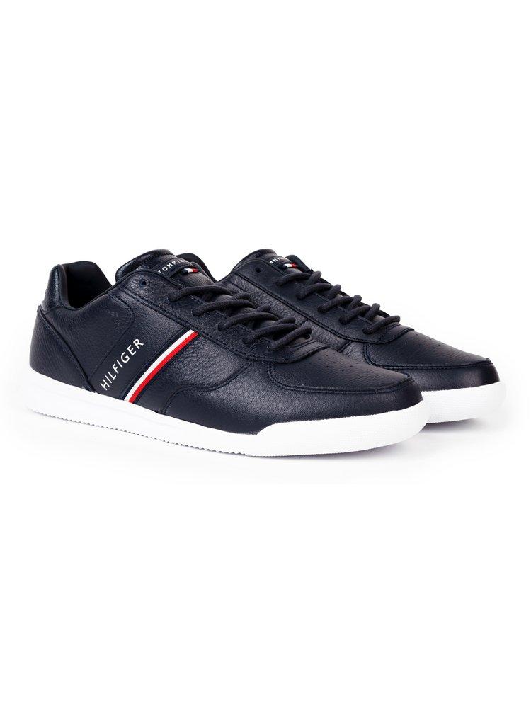 Tommy Hilfiger tmavě modré pánské kožené tenisky Lightweight Leather Mix Sneaker Desert Sky