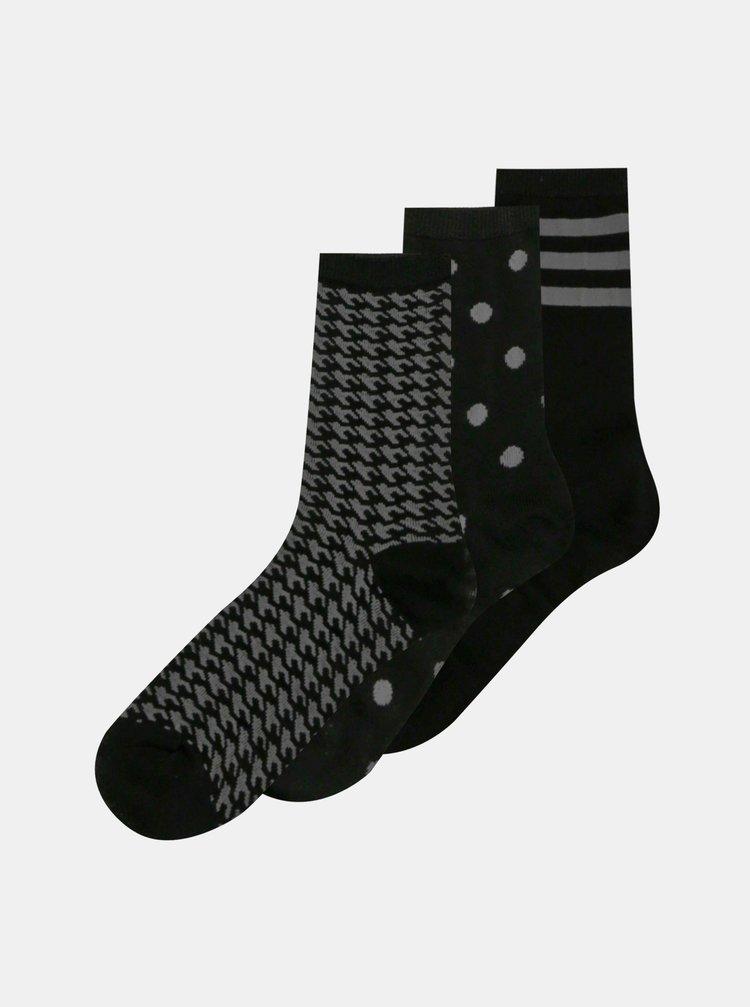 Sada tří párů černých ponožek ONLY Abarna