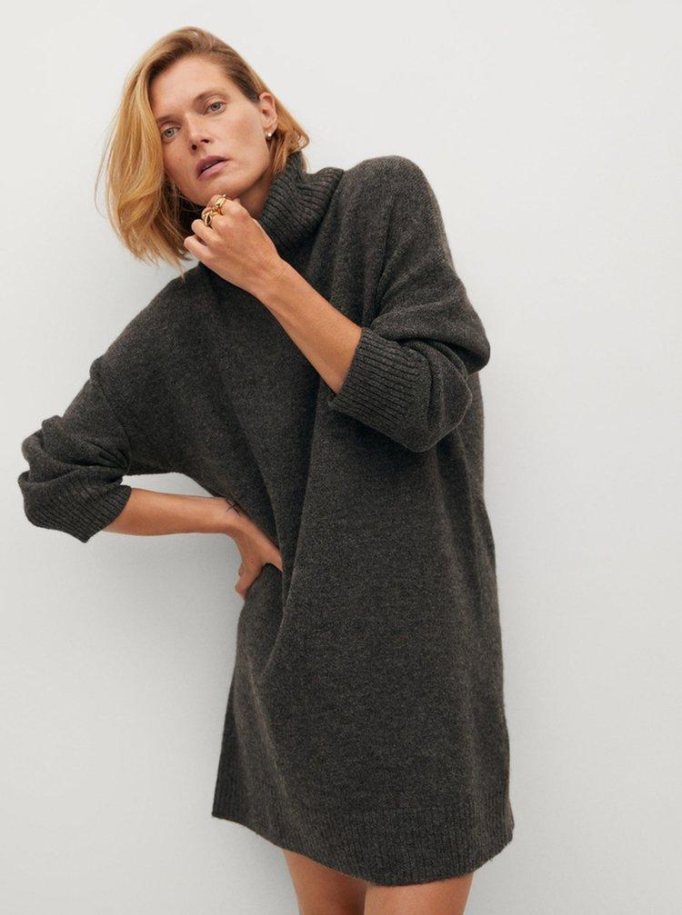 Šedé svetrové šaty s rolákem Mango Taldora
