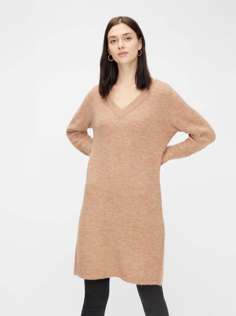 Béžové svetrové šaty Pieces Ellen