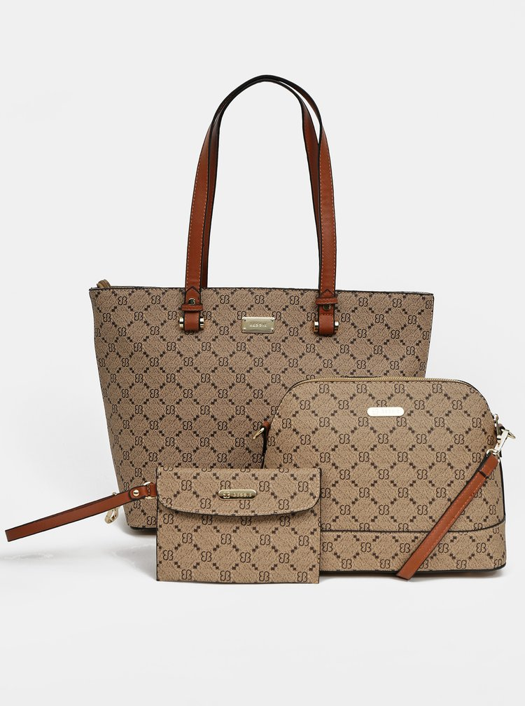 Hnedá kabelka s crossbody kabelkou a peňaženkou 3v1 Bessie London