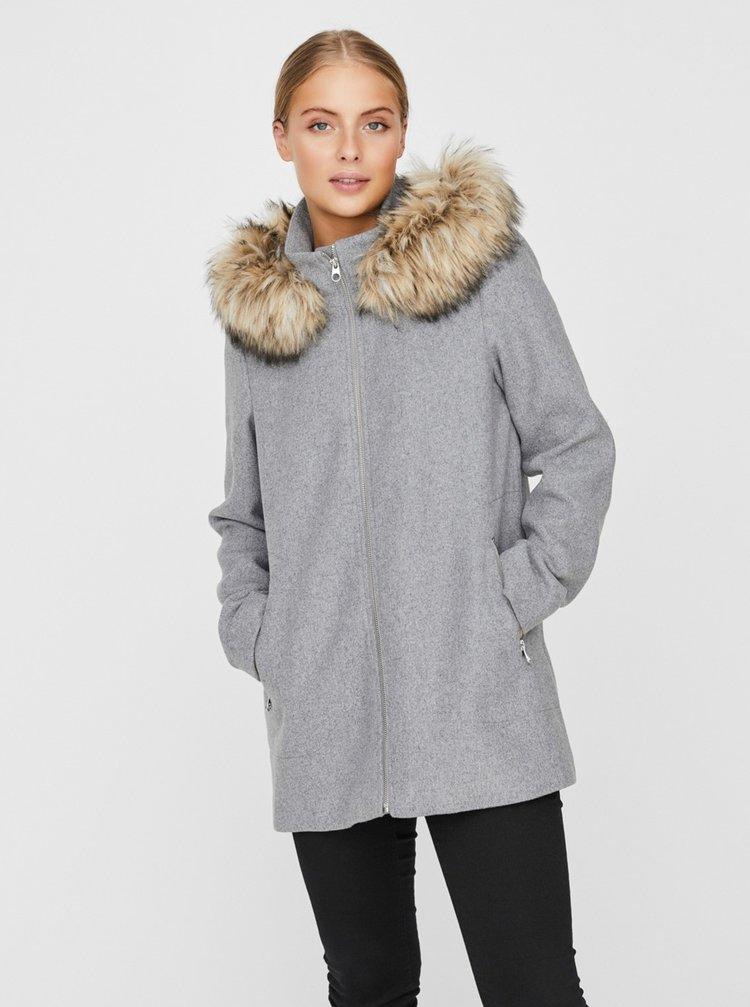 Šedý zimní kabát s příměsí vlny VERO MODA Collaryork