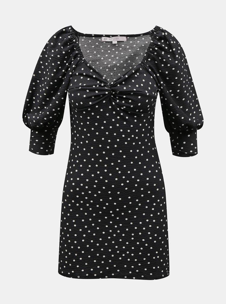 Černé puntíkované šaty Miss Selfridge Petites